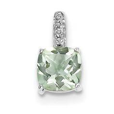 Sterling Silver Rhodium Green Quartz & Diamond Pendant QDX493