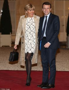 Brigitte Trogneux, pictured at The State Dinner in Honor Of King Willem-Alexander of the Netherlands and Queen Maxima at Elysee Palace in 2016, isn't afraid of showing off some leg and wore this daringly short lace dress for the occasion