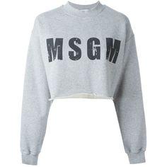 MSGM Logo Print Cropped Sweatshirt (£65) ❤ liked on Polyvore featuring tops, hoodies, sweatshirts, grey, msgm, grey top, cotton sweatshirt, grey crop top and cotton crop top