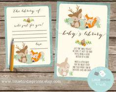 WOODLAND Baby Shower Invitation Fox Deer by littlebirdieprints