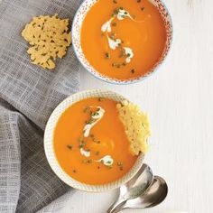 Carrot Soup with Parmesan Crisps Recipe | Cooking Light #myplate #veggies #dairy