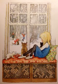 I chose this illustration because I liked the way the illustrator has framed the image of the girl looking out the window. Uit het boek 'Alice in Spiegelland' van Lewis Carroll Art Mignon, Ouvrages D'art, Children's Book Illustration, Cat Illustrations, Vintage Children, Art Children, Cat Art, Illustrators, Folk Art