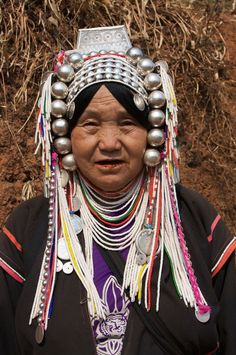 Akha woman in high altitudes of Laos, Vietnam, Myanmar, Burma, Yunnan and here in Northern Thailand.