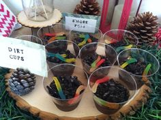 Dirt cups at a Camping Party #camping #partyfood