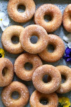 Baked Cinnamon Sugar Doughnuts - tender and fluffy baked doughnuts! Baked Doughnut Recipes, Doughnut Pan, Baked Doughnuts, Cinnamon Donuts, Donut Recipe For Donut Pan, Baked Buttermilk Donuts Recipe, Homemade Baked Donuts, Delicious Donuts, Delicious Desserts