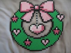 Kawaii Christmas wreath perler beads by PerlerHime on DeviantArt