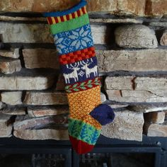 Personalized Knit Christmas Stocking, Custom Knitted Christmas Stocking, Fair Isle Stocking, Plum Reindeer, Blue Snowflakes Green Trees