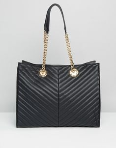 ASOS Quilted Chevron Tote Bag With Chain Handle at asos.com