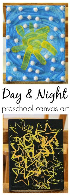 Art for preschoolers - exploring the concepts of day and night using art. I love the the night sky glows under a black light!!
