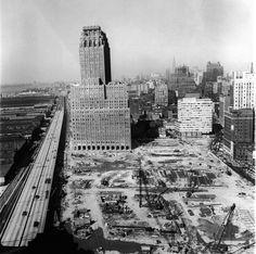 Construction site for the World Trade Center, circa 1966