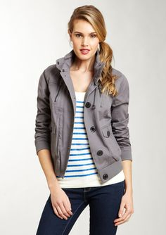 Coffeeshop twill button front jacket