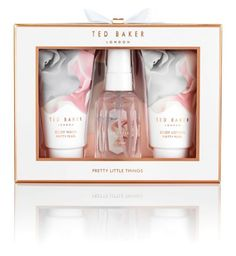Ted Baker Pretty Little Things Mini Trio Gift Set, 3 Piece - for sale online Pretty Packaging, Beauty Packaging, Gift Packaging, Skincare Packaging, Cosmetic Packaging, Little Things, Girly Things, Ted Baker Gifts, Tiffany Blue Box