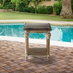 Arhaus outdoor Pinterest contest: Teak Outdoor End Table. I love the shabby chic French feel.