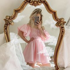 Pink off-the-shoulder summer mini dress with a shirred bodice, puff sleeves and an A-line silhouette. Little Princess, Pink Princess Dress, Princess Clothes, Disney Princess, Princess Aesthetic, Pink Aesthetic, Aesthetic Clothes, Up Girl, Girly Girl