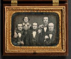 Quarter Plate Daguerreotype of Five Brothers and a Sister