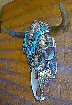 Turquoise And Mirror Mosaic Skull - by Glass Magic Studios