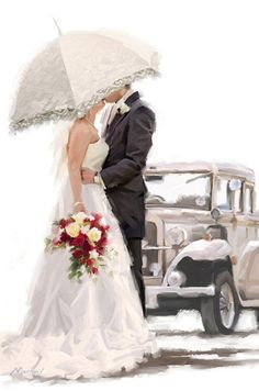 Trademark Fine Art 'Wedding Car' Canvas Art by The Macneil Studio, Size: 16 x White Wedding Images, Wedding Pictures, Wedding Cards, Wedding Day, Wedding Kiss, Just Married Auto, Lace Parasol, Wedding Illustration, Romance And Love