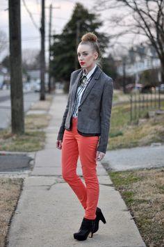 colored skinnies + blazer love
