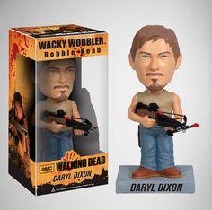Cabezón Daryl Dixon 18 cm. Versión 2, Línea Wacky Wobblers. The Walkind Dead. Funko Divertido y original cabezón del protagonista Daryl Dixon bobblehead
