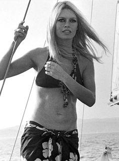 Brigitte Bardot sailing in St. Tropez, 1968.