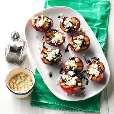 Balsamic-Goat Cheese Grilled Plums Recipe -Make a real statement at the end of your summer dinner party with this simply elegant dessert. Ripe plums are grilled, then dressed up with a balsamic reduction and sprinkled with tangy goat cheese. Vegetarian Recipes Easy, Quick Recipes, Diabetic Recipes, Healthy Recipes, Grilling Recipes, Gourmet Recipes, Appetizer Recipes, Appetizers, Best Plum Recipes
