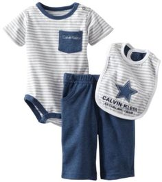 Calvin Klein Baby-boys Newborn Bodysuit Pant Set with Bib Navy,