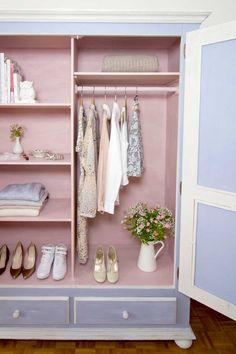 Blue and pink wardrobe