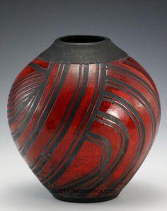 red & black raku vase jlw ceramics