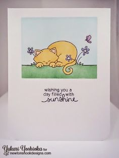 One Layer Kitty card by Yukari Yoshioka | Newton's Daydream stamp set by Newton's Nook Designs