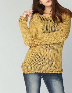Hand knit sweater Eco cotton sweater in Mustard por MaxMelody, $88.00
