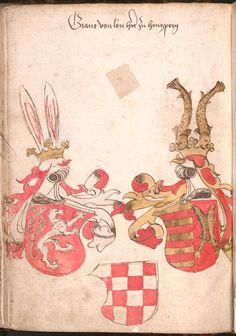 Wernigeroder (Schaffhausensches) Wappenbuch Süddeutschland, 4. Viertel 15. Jh. Cod.icon. 308 n  Folio 66v