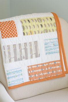 """The quilt my mom made for Sawyer    If you like this, help me win Project Nursery's design contest by going to the page and clicking the facebook """"like"""" button to the left of the first photo. Thank you :)"""