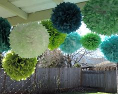 Ocean Breeze, 9 Teal Green Pom poms, Tissue paper Pom poms, Wedding Decorations, Teal Green Baby Nursery, Beach Wedding, Ocean Theme on Etsy, $48.50