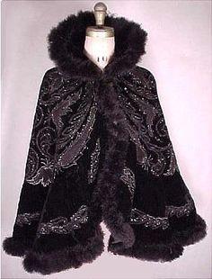 Parisian Black Velvet Jet Beaded Opera Cape Trimmed in Marabou Feathers, c. 1890s Fashion, Edwardian Fashion, Gothic Fashion, Vintage Fashion, Vintage Gowns, Vintage Coat, Vintage Outfits, Historical Costume, Historical Clothing