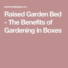 Raised Garden Bed - The Benefits of Gardening in Boxes