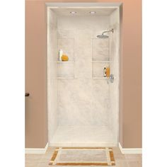 Shop Style Selections Silver Mocha Solid Surface Wall Solid Surface Floor 5-Piece Alcove Shower Kit (Common: 34-in x 48-in; Actual: 95.75-in X at Lowes.com