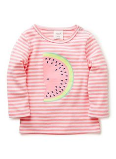 100% Cotton Tee. Long sleeve, crew neck tee in 1x1 cotton rib. Yarn dyed stripe with snaps on baby's left shoulder-line for easy dressing. Features oversized watermelon print. Available in Rose Pink.