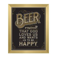 """Click Wall Art Beer Is Proof That God Loves Us Framed Textual Art in Black Size: 13"""" H x 11"""" W x 1"""" D"""