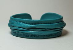 Turquoise Genuine Leather Cuff Bracelet by LeasBoutique on Etsy