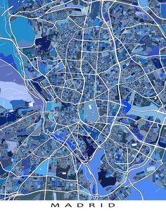 Do you love Madrid #Spain? Then this Madrid #map art print will look great on your wall!  This city map has an abstract art design made from of lots of little blue shapes. Each shape is actually a city block or a piece of land - and these shapes combine like a puzzle or mosaic to form this #Madrid print.