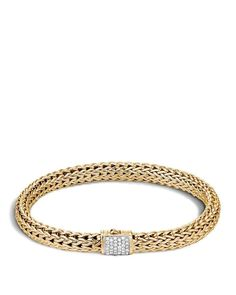 John Hardy Classic Chain 18K Gold and Diamond Pavé Small Bracelet