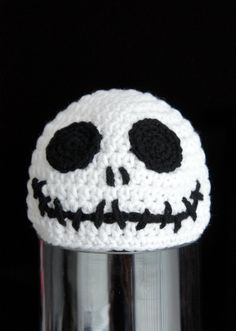Skull Hat, Halloween Beanie Hat, Skeleton Head Hat, Crochet Baby Hat, Baby Hat, Black, White, photo prop, inspired by Jack Skellington