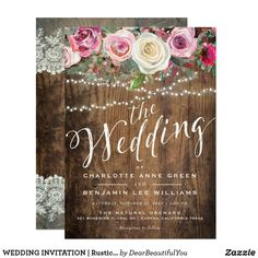 """WEDDING INVITATION   Rustic Wood Floral Lights Celebrate your special wedding day with this beautiful one of a kind Rustic Wood Floral String Lights Lace Wedding Invitation. Make an amazing first impression to your guests before they arrive. Don't miss the matching """"Rustic Wood Floral String Lights"""" Wedding Collection in the Dear Beautiful You shop to enhance your invitation. #weddingideas  #weddinginvitations  #rusticwedding #countrywedding #rusticweddinginvitations…"""
