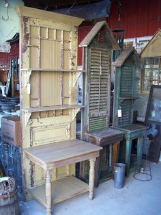 recycling doors, shutters, an end table &/or sofa table- spray paint for aged look- what a fun idea for a sunporch or patio !!
