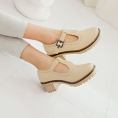 cdac5f82b0a498 New Retro Brouge oxfords faux leather T-strap flats chunky heel low Preppy  shoe
