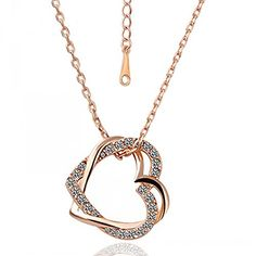 Buy Ananth Jewels Swarovski Elements Crystal Double Heart Pendants Rose  Gold Plated Necklace Jewellery for Women Online at Low Prices in India    Amazon ... aac4065792