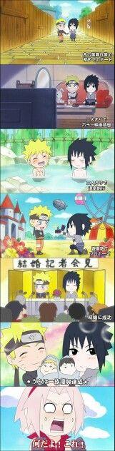 Team 7, Naruto, Sasuke, SasuNaru, marry, yaoi, Sakura, funny, comic, text; Rock Lee and his Ninja Pals