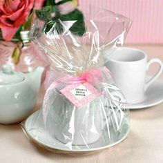 Mini Tea Sets by Beau-coup ~~ Hecky I can make this for cheaper (thrift cups and saucers+cellophane+actual tea bags!) -KL