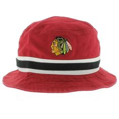 44d64cc48174a Chicago Blackhawks The Striped Bucket Hat - Red By 47 Brand Chicago Hotels