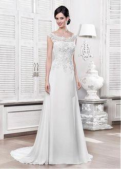 c089352d66f6  171.00  Wonderful Lace   Chiffon Scoop Neckline A-line Wedding Dress With  Lace Appliques